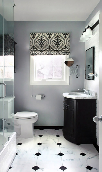 Classic Bathroom. Black And White Tiles Floor. Damask with Black And Gray Bathroom