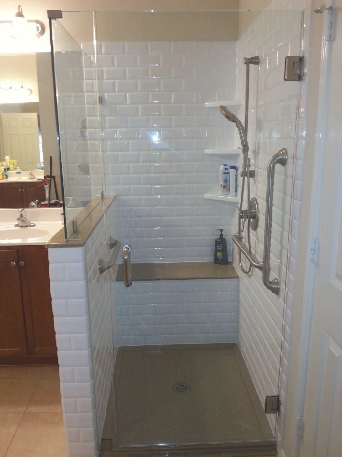 Classic Subway Rebath Wall System With Onyx Collection pertaining to Walk In Shower With Bench