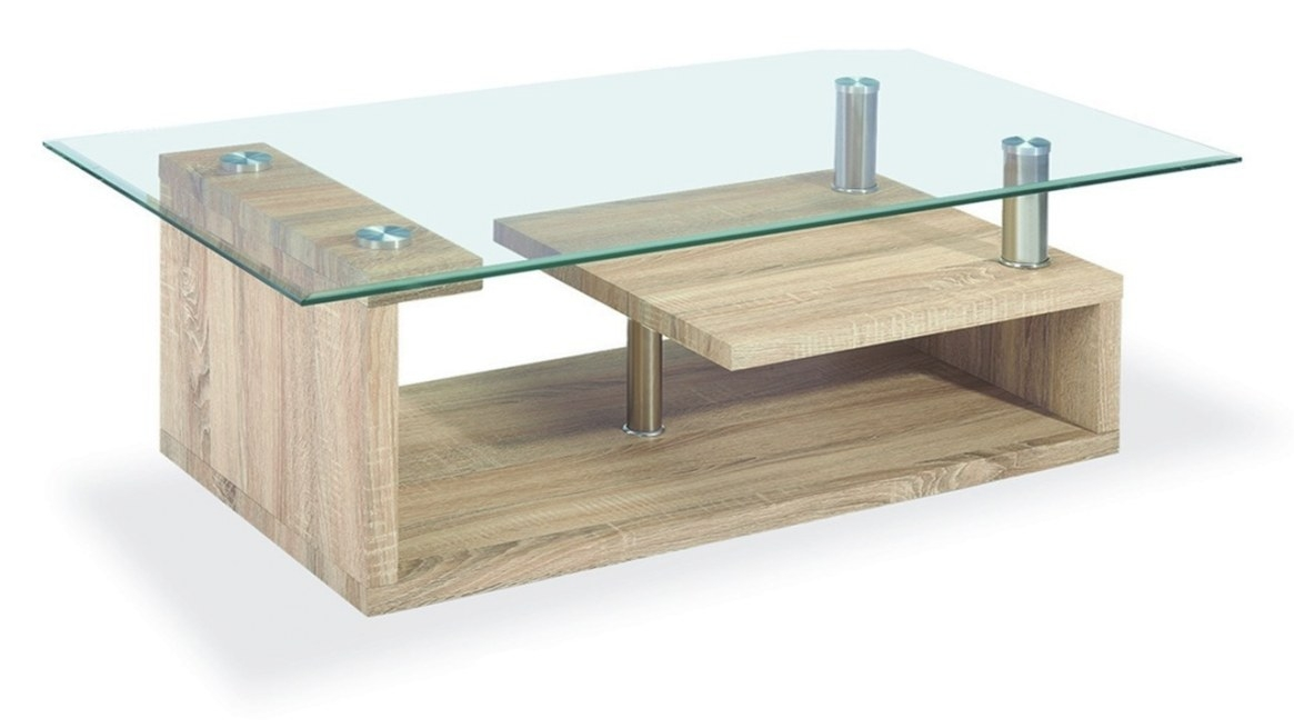 Clear Glass Coffee Table Wood Veneer Base - Homegenies intended for Wood And Glass Coffee Table