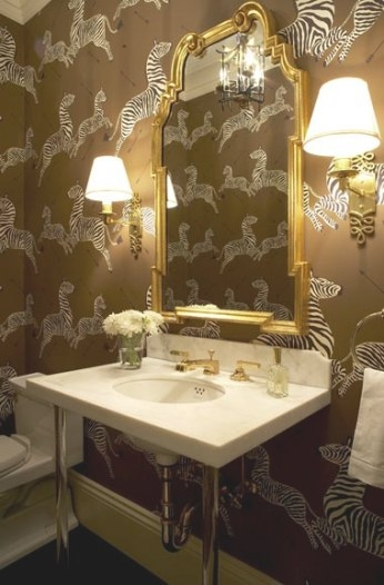 Cococozy: Bath Week: Plucky Powder Rooms! in Brown And Gold Bathroom