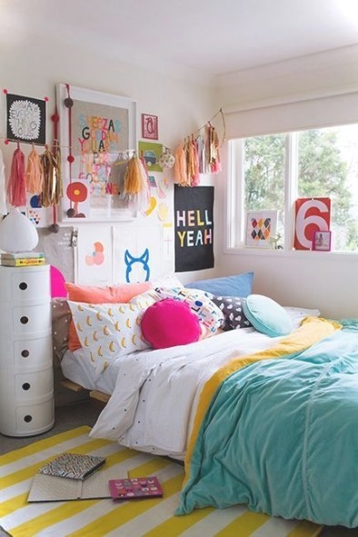 Colorful Teenage Girls Room Decor - Small House Decor inside Houzz Teenage Girl Bedrooms