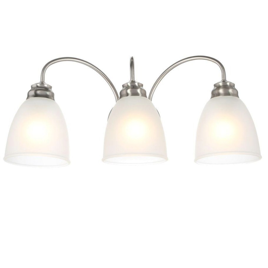 Commercial Electric 3-Light Brushed Nickel Vanity Light inside Bathroom Vanity Lights Brushed Nickel
