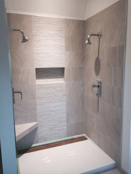 Contemporary Shower. 12X24 Tile With 12X24 Muretto Accent within 12X24 Tile In Small Bathroom
