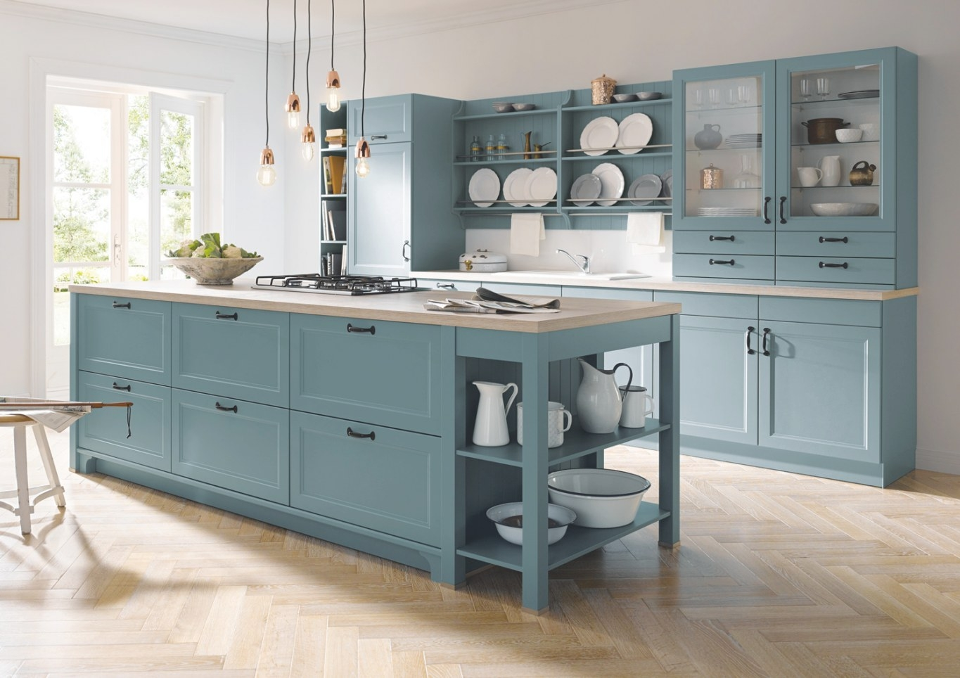 Contur® 57.100 Grey Blue Satin Lacquer Kitchen | Markus pertaining to Blue And Grey Kitchen