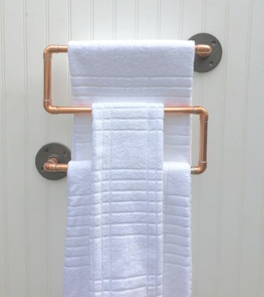 Copper Pipe Towel Rack Industrial Towel Bar Modern with Towel Racks For Small Bathrooms