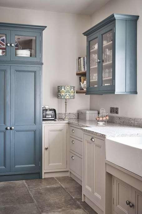 Country Blue Farmhouse Kitchen - Town & Country Living intended for Blue And Grey Kitchen