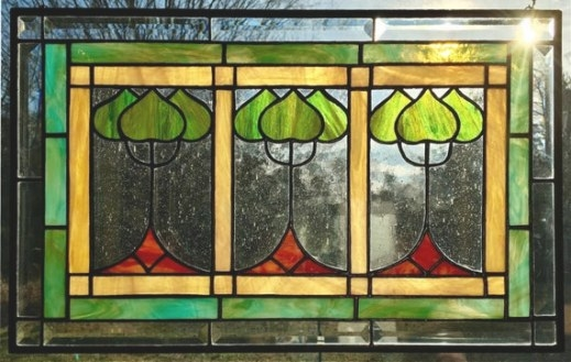 Craftsman Missions Style Stained Glass Window Panel Arts And intended for Craftsman Stained Glass Panel Collection