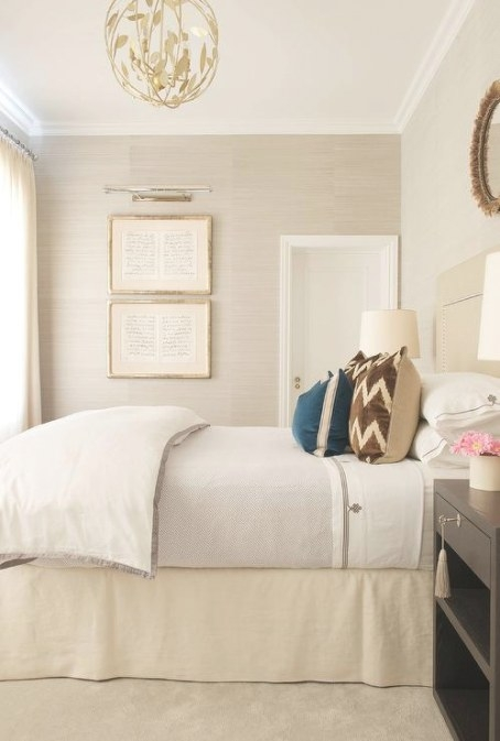 Cream And Brown Bedroom With Light Taupe Grasscloth pertaining to Cream And Blue Bedrooms