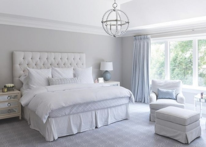 Cream And Gray Bedroom With Gray Grasscloth - Transitional pertaining to Cream And Blue Bedrooms