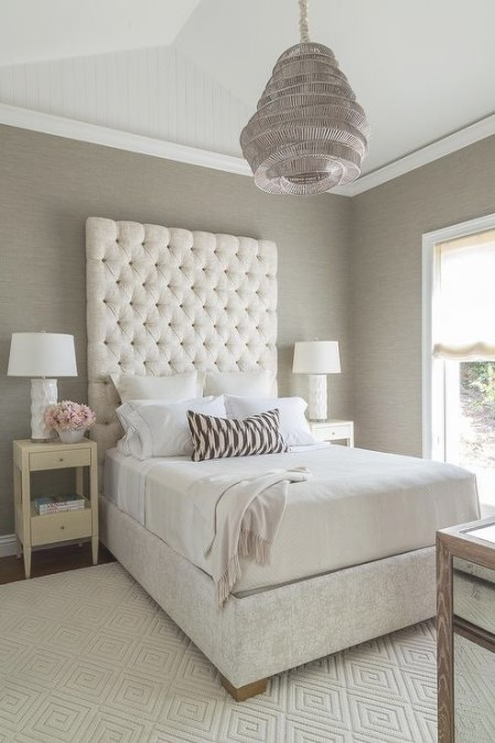 Cream And Gray Bedroom With Gray Grasscloth - Transitional regarding Cream And Blue Bedrooms