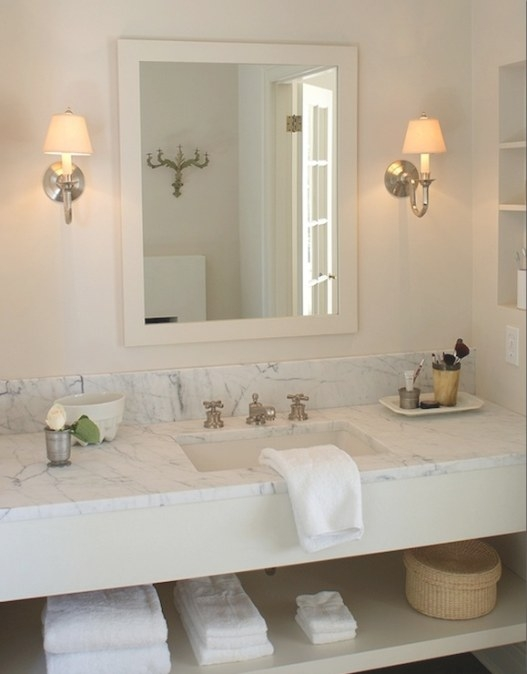 Cream Vanity With White Marble Countertop - Transitional pertaining to Cream And White Bathroom