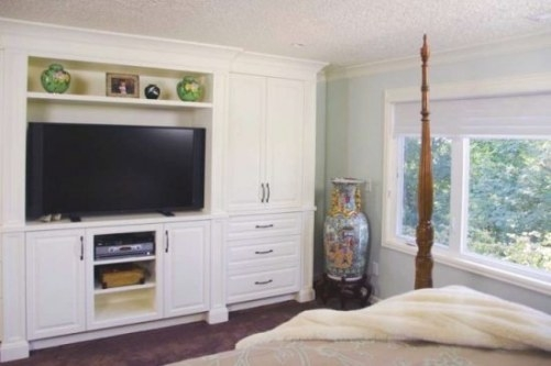 Custom Bedroom Tv Wall Unit With Built In Cupboard regarding Wall Units For Bedroom