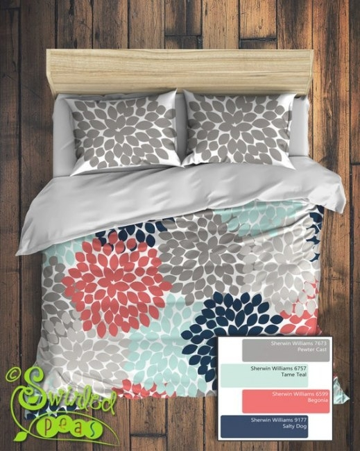 Custom Floral Bedding In Comforter Or Duvet Style Features pertaining to Navy And Coral Bedroom