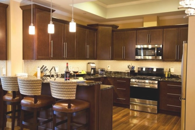 Cute Dark Brown Color Mahogany Wood Kitchen Cabinets Comes throughout Dark Brown Kitchen Cabinets