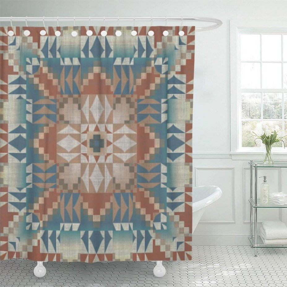 Cynlon Cozy Burnt Orange Brown Teal Blue Ethnic Look inside Teal And Brown Bathrooms