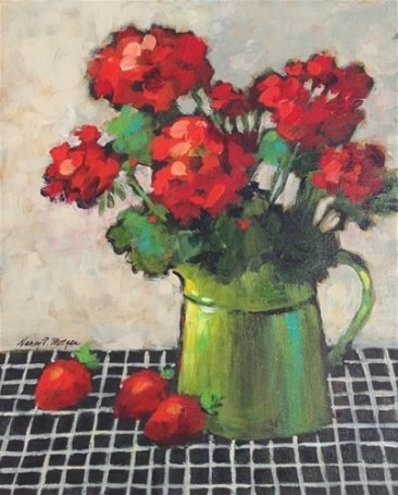 "Daily Paintworks - ""Geraniums And Strawberries"" - Original for Fair Bianca Rose For Sale In Usa"