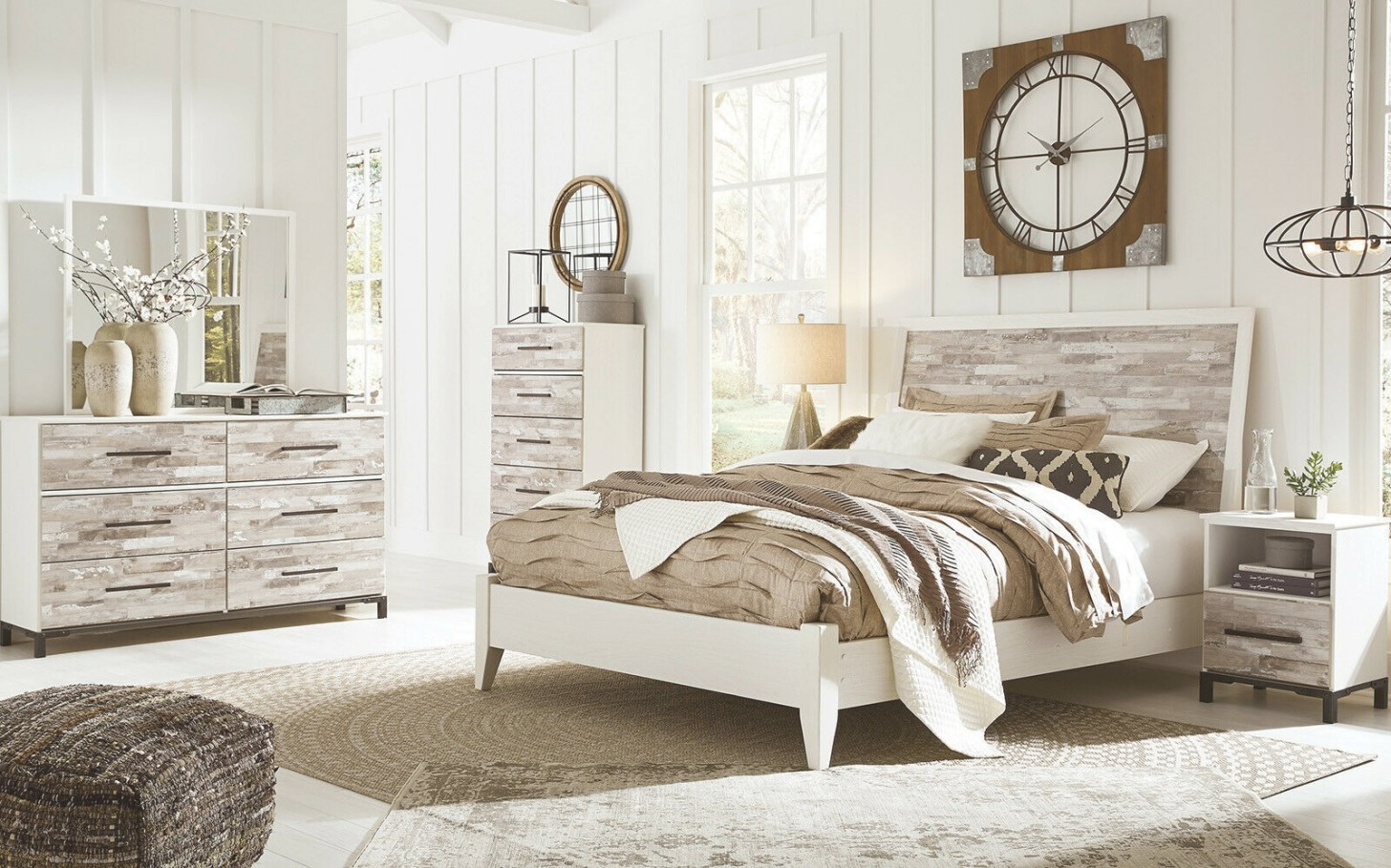 Dante 5 Pieces Modern Cottage Rustic White Wood Queen King intended for White And Wood Bedroom