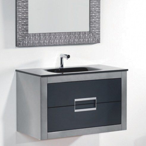 Danya Silver Leather Modern Bathroom Vanity 32 Inch intended for 32 Inch Bathroom Vanity