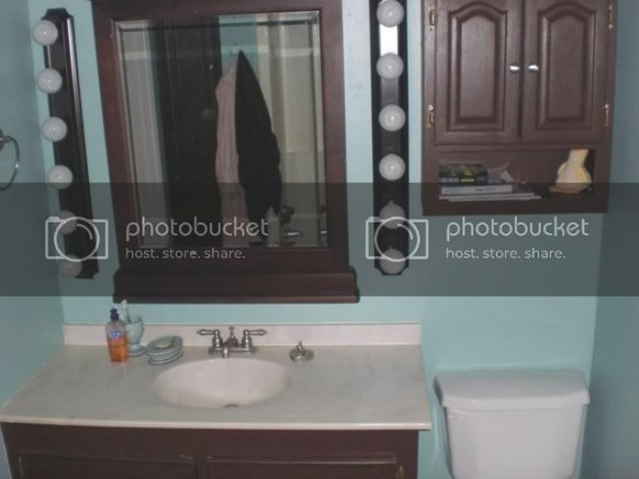 Dark Brown Or Dark Turquoise In 1/2 Bath? — Thenest in Turquoise And Brown Bathroom