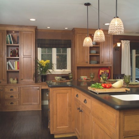 Dark Floor Light Cabinet | Houzz intended for Dark Hardwood Floors Kitchen