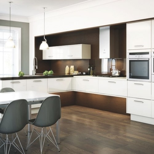 Dark Wood And White L-Shaped Kitchen | L-Shaped Kitchen throughout L Shaped White Kitchen