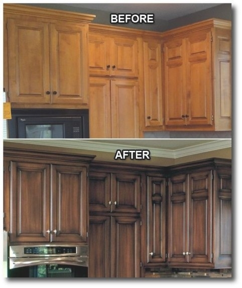 Darker Stain While Keeping The Pretty Wood. | Kitchen Redo with regard to Update Brown Cabinets In Kitchen