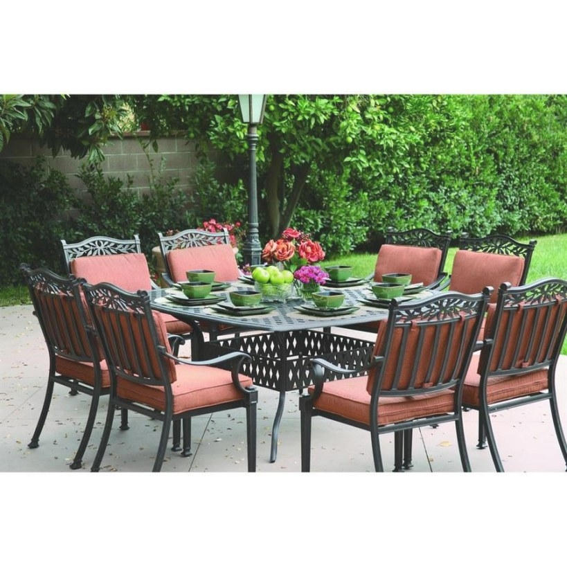 Darlee Charleston 9-Piece Antique Bronze Aluminum Patio pertaining to 9 Piece Dining Set