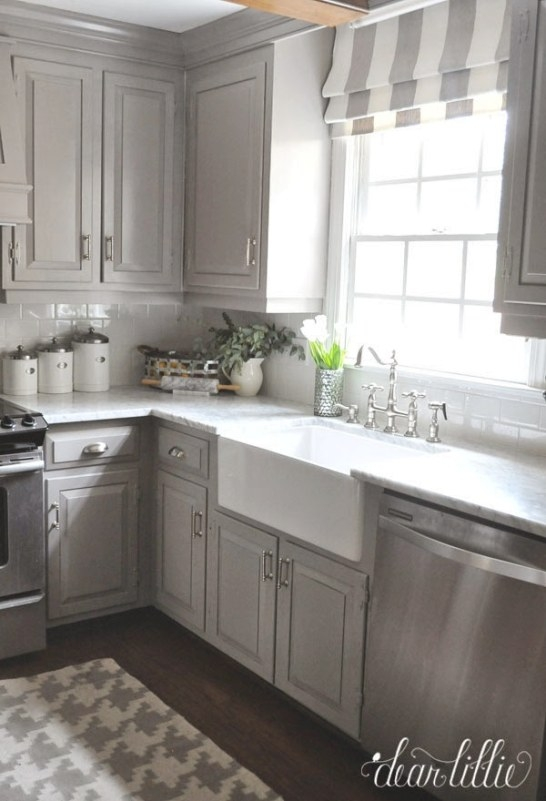 Dear Lillie: The Finishing Touches On Our Kitchen Makeover intended for Grey And White Kitchen
