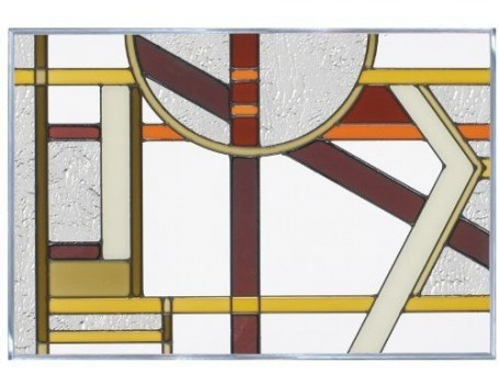 "Deco Craftsman Colors 20.5"" X 14"" Horizontal Stained Glass with regard to Craftsman Stained Glass Panel Collection"