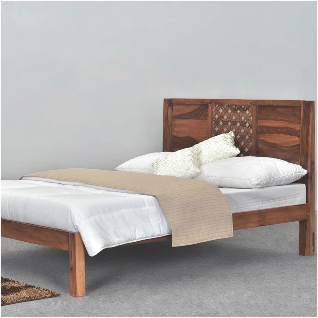 Diamond Lattice Solid Wood Rustic California King Size with King Size Platform Bed