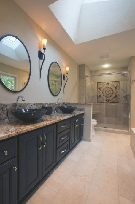 Dont Like The Sinks But Love The Cabinets And Tops And The for Black And Tan Bathroom