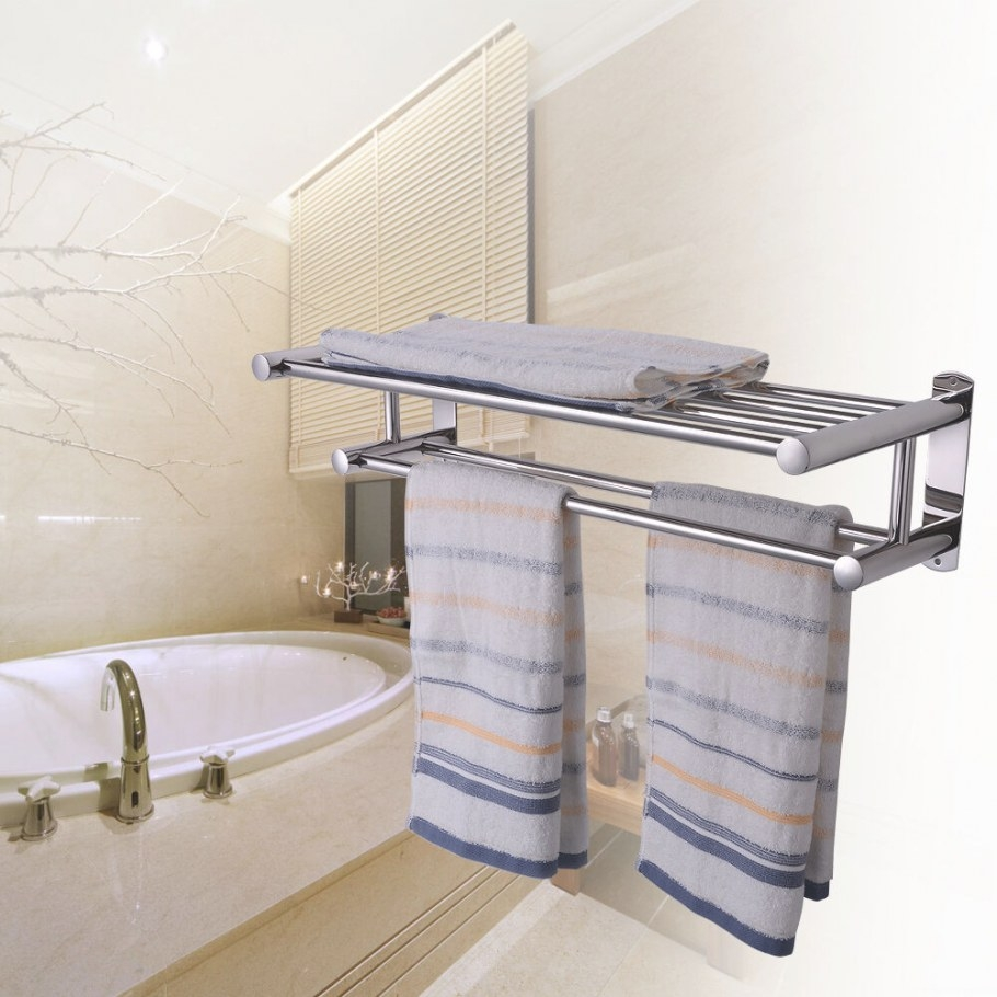 Double Rows Wall Mounted Bathroom Towel Rail Holder with Towel Racks For Small Bathrooms