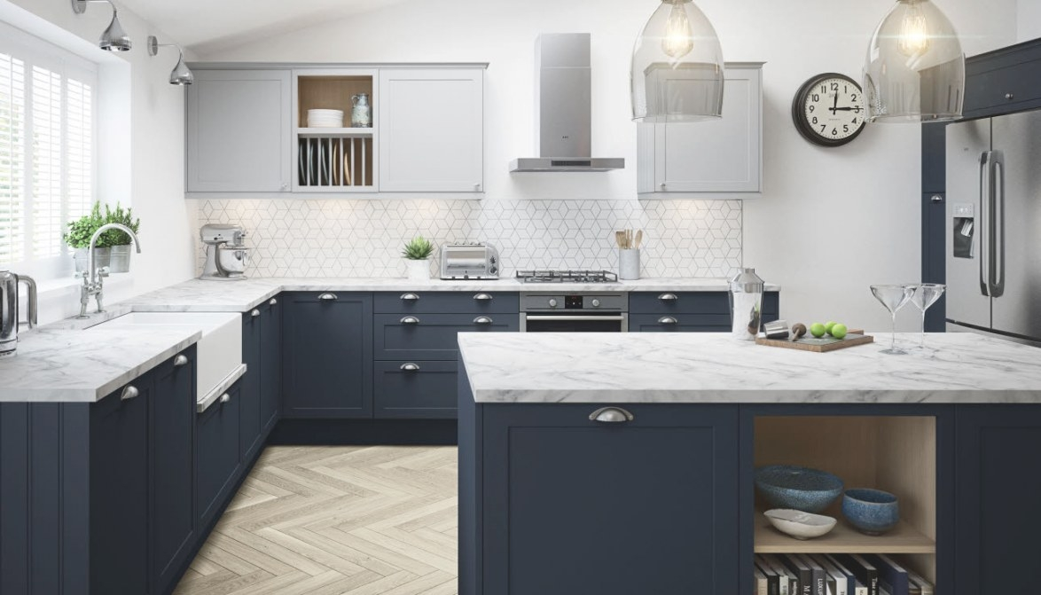 Dunham Kitchen In Midnight Blue | Magnet Kitchens inside Blue And Grey Kitchen