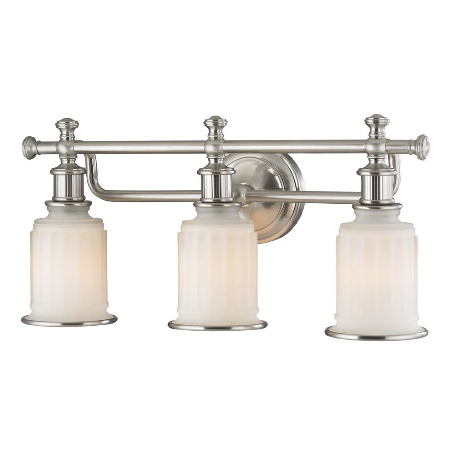 Elk 52002-3 Acadia Brushed Nickel 3-Light Vanity Lighting with Bathroom Vanity Lights Brushed Nickel