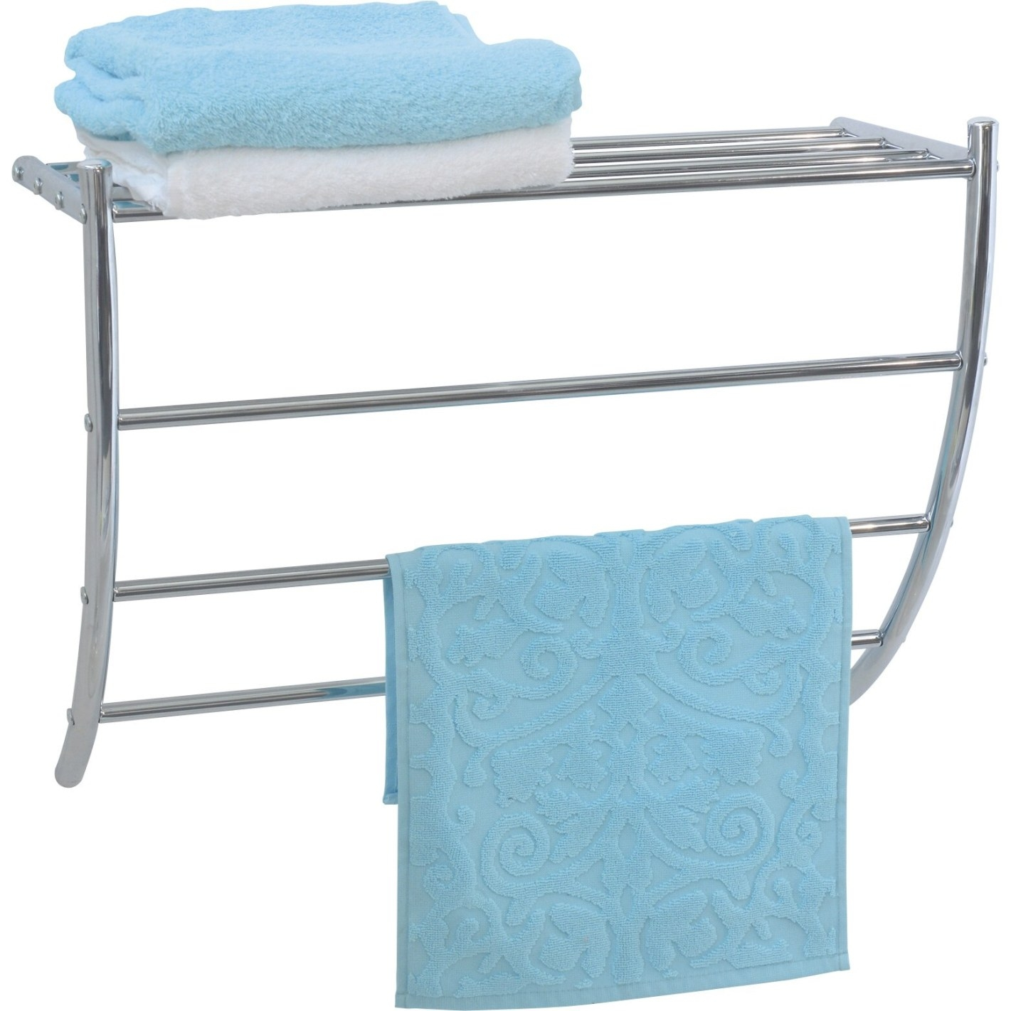 Evideco Wall Mounted Bath Shelf And Towel Rack & Reviews in Towel Racks For Small Bathrooms