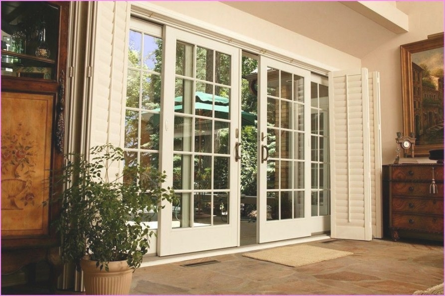 Exterior French Doors With Sidelights And Transom Home within Exterior Door With Built In Pet Door Lowes