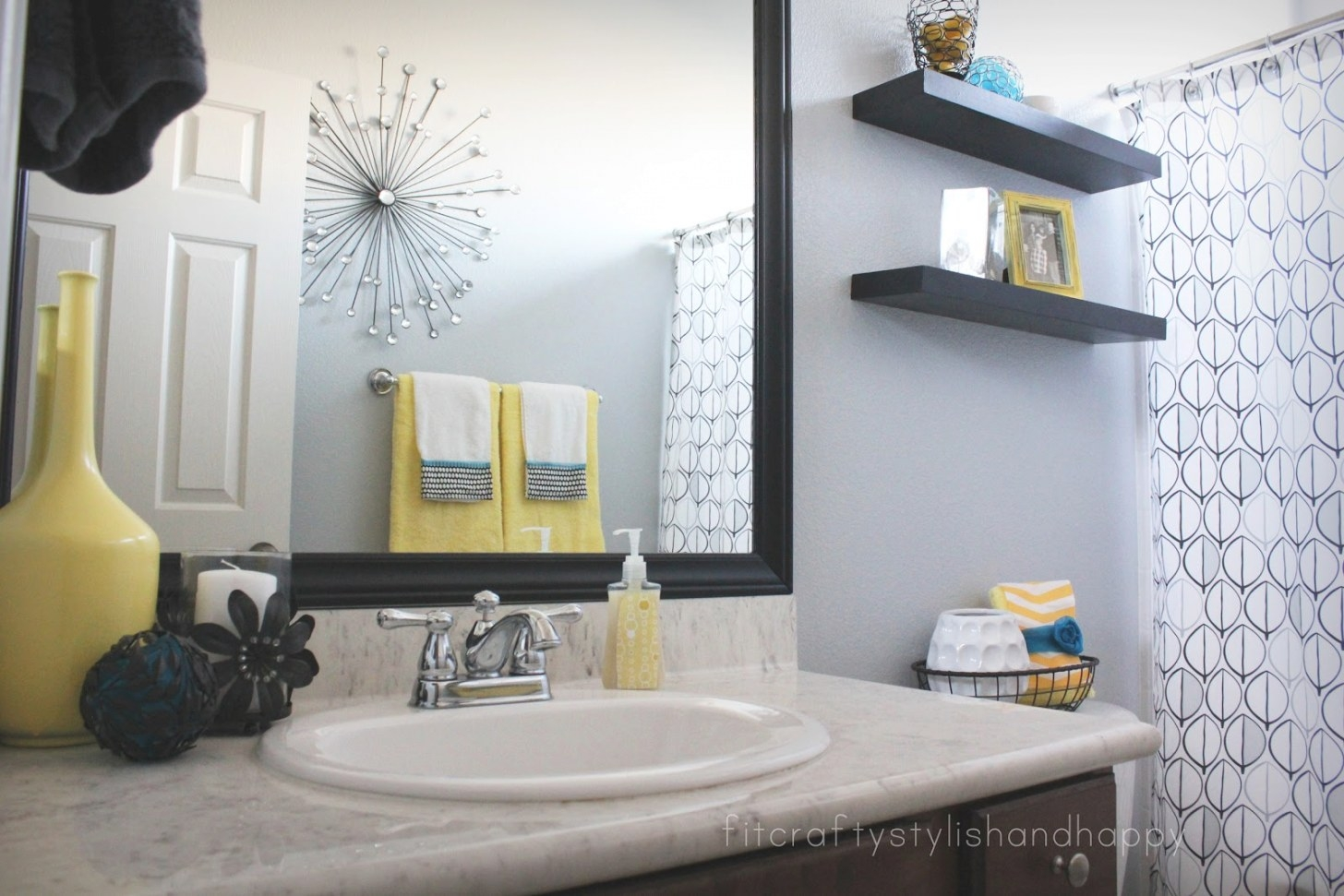 Fit, Crafty, Stylish And Happy: Guest Bathroom Makeover inside Black And Gray Bathroom