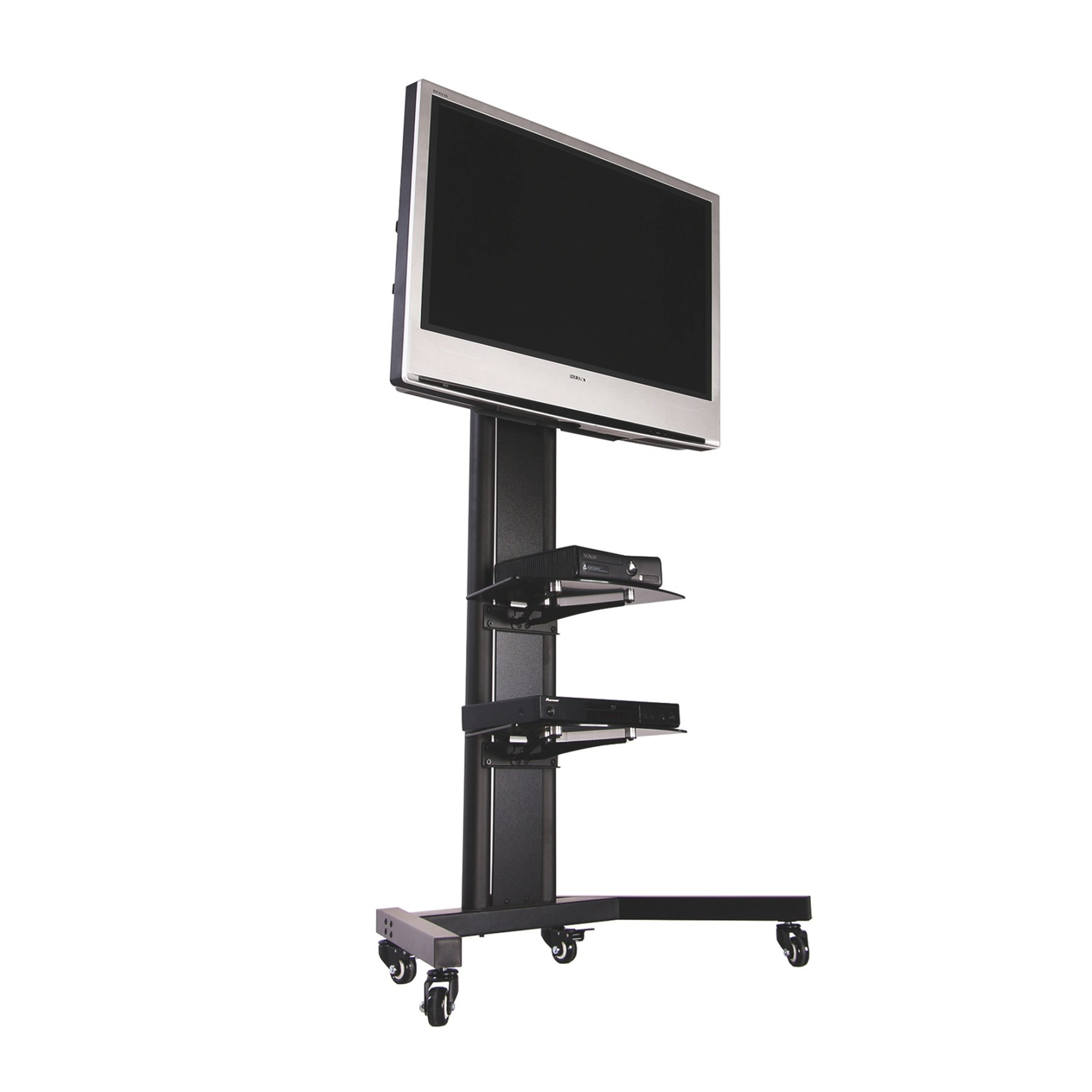 Fitueyes Black Tv Cart Mobile Tv Stand For 32 To 65 Inch inside Tv Stand With Wheels
