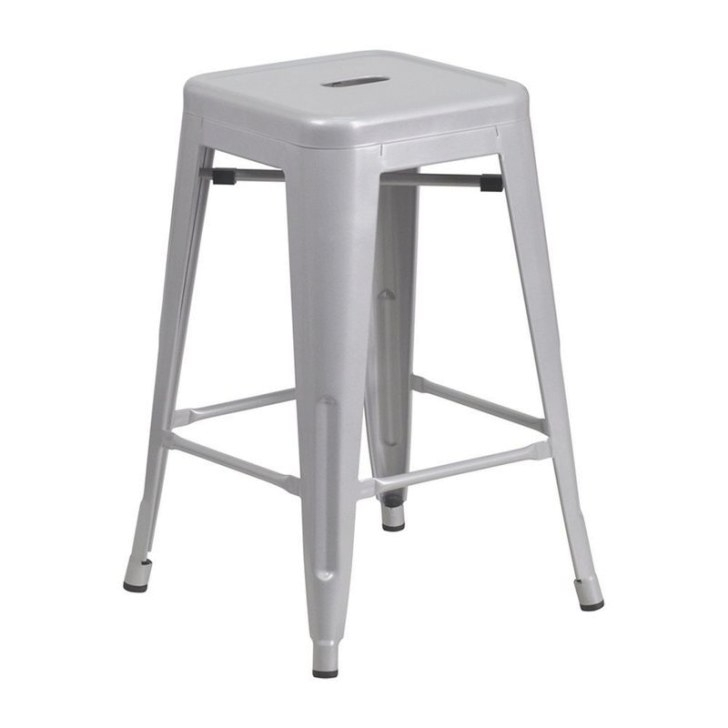 "Flash Furniture 24"" Backless Silver Metal Counter Height inside Counter Height Bar Stools"