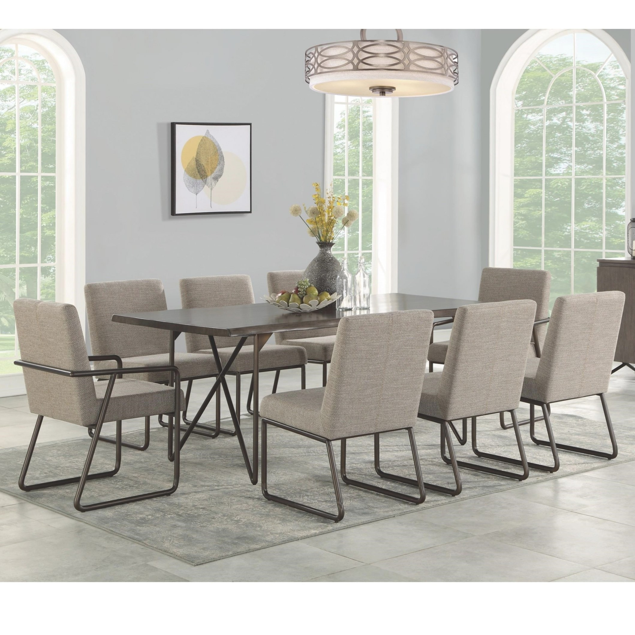 Flexsteel Shadow Mid-Century Modern 9-Piece Table And pertaining to 9 Piece Dining Set
