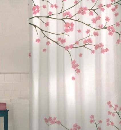 Floral Cherry Blossom Pink Brown White Quality Fabric with Pink And Brown Bathroom