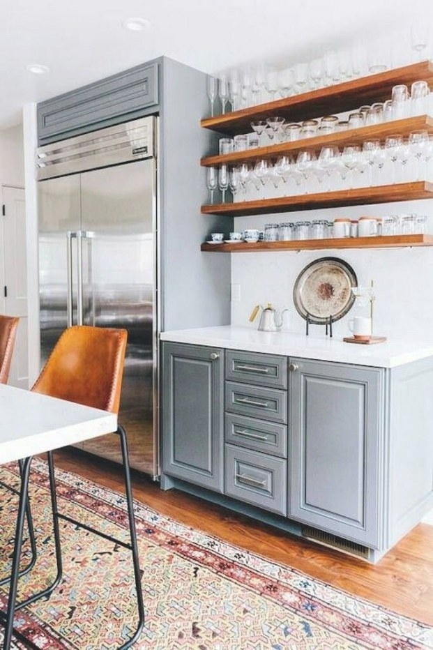 Fridge Next To Shelves | Rustic Kitchen Decor, Floating in Bathroom Next To Kitchen