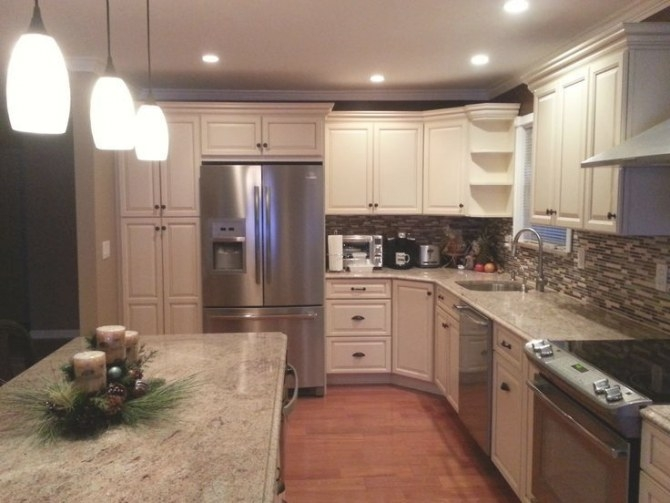 Furniture, Awesome Semi Custom Kitchen Cabinets With L regarding L Shaped White Kitchen