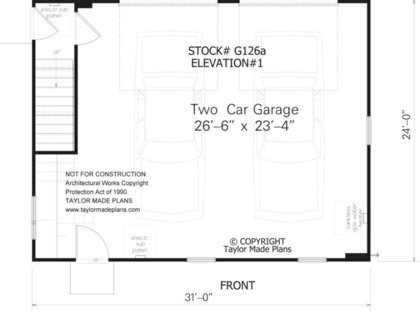 G126A – 1 1/2 Story, Two Car Garage With Apartment with 2 Car Garage Size
