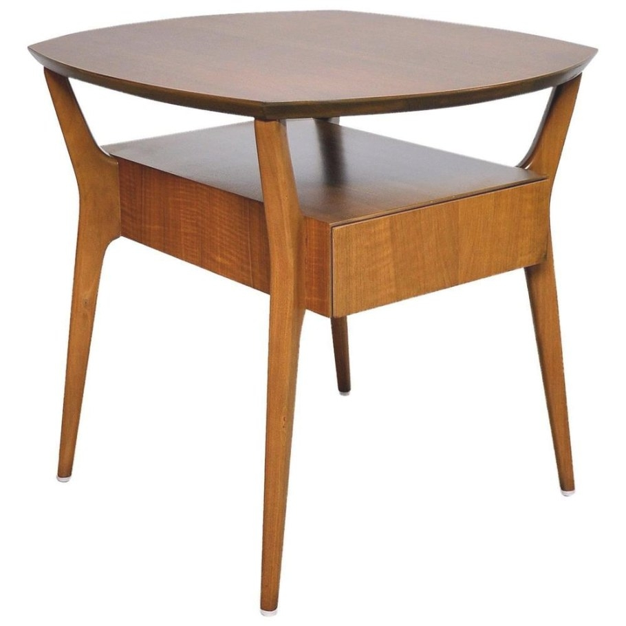 Gio Ponti Walnut Side End Table Mid-Century Modern Singer inside Mid Century Modern Side Table