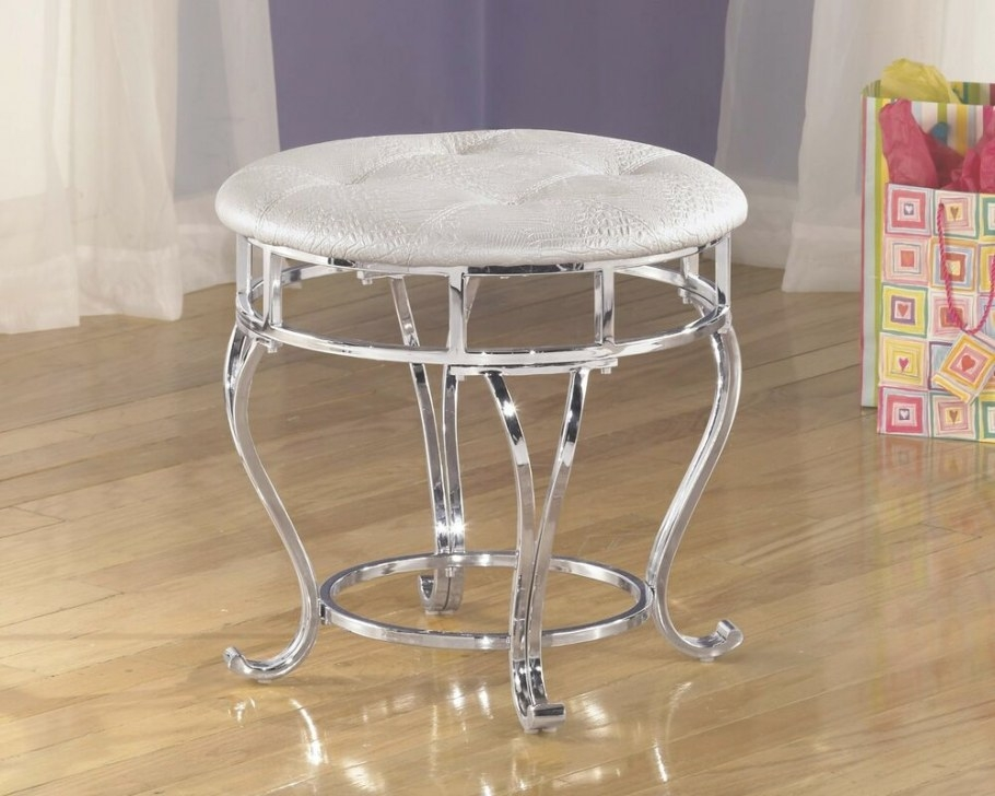 Girls Vanity Stool Round Chrome White Cushion Seat Faux regarding Vanity Seats For Bathrooms