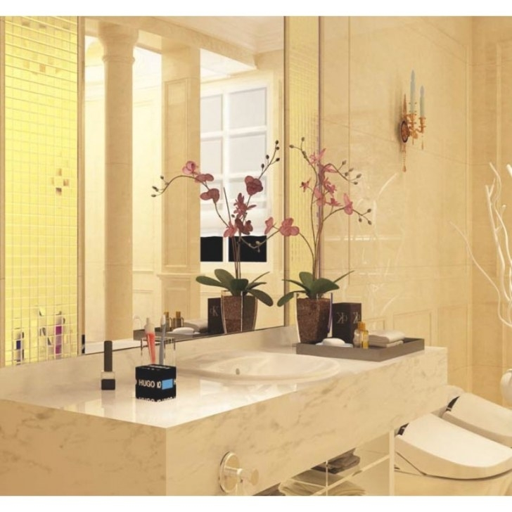 Gold Porcelain Tiles Bathroom Wall Backsplash Glazed within Porcelain Tiles For Bathrooms