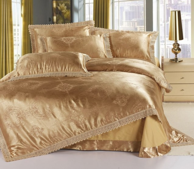 Golden Jacquard Tribute Silk King Size Bedding Set Satin intended for What Size Washer Do I Need For A King Size Comforter