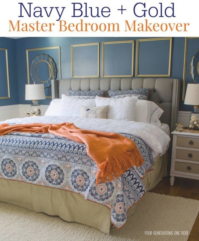Gorgeous Navy Blue + Gold Master Bedroom Makeover | Orange within Navy Blue And Gold Bedroom