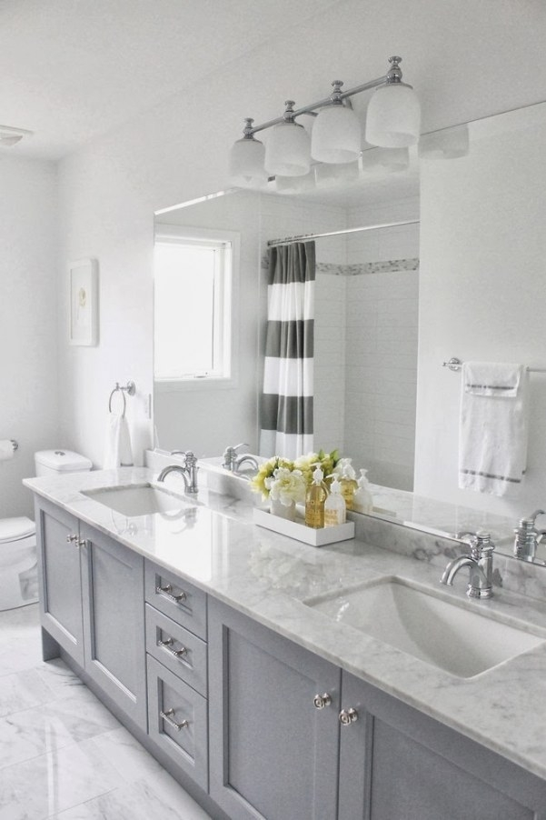 Gray Bathroom Cabinets in White And Grey Bathroom